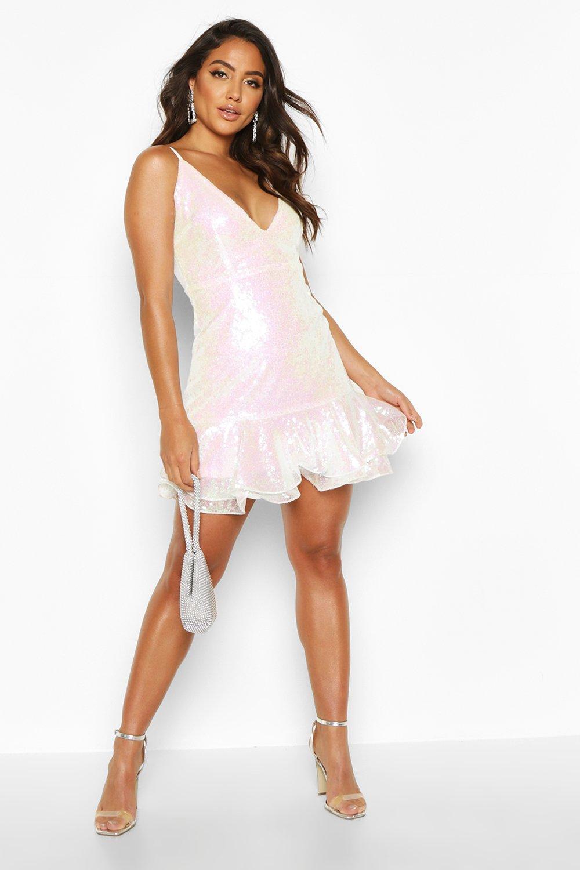 Boohoo | Мини платье скейтер с пайетками и двойной оборкой по подолу | Clouty