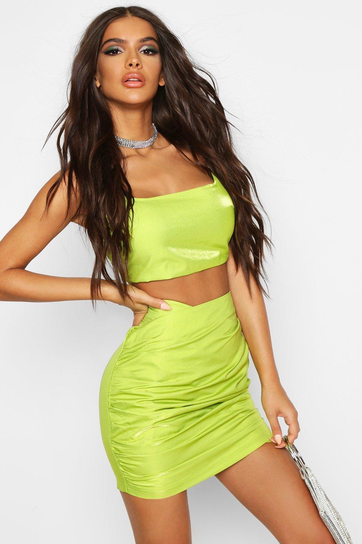Boohoo | Мини юбка металлик с запахом и оборками | Clouty