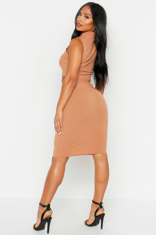 Boohoo   Комплект: топ с высоким вырезом в рубчик + юбка миди   Clouty