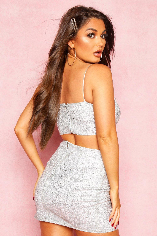 Boohoo | Блестящая мини юбка с разрезом | Clouty