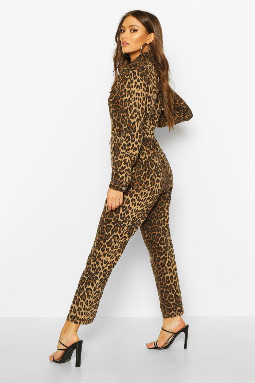 Boohoo | Комбинезон из денима с леопардовым принтом | Clouty
