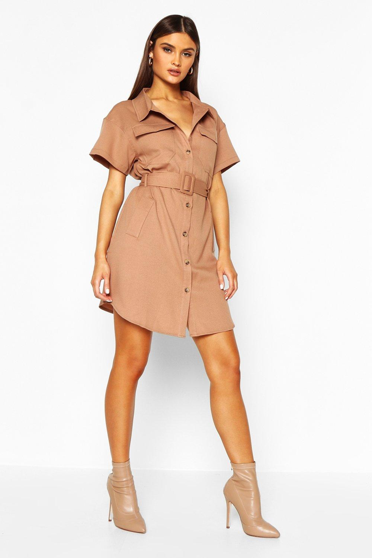 Boohoo | Платье-рубашка с поясом | Clouty