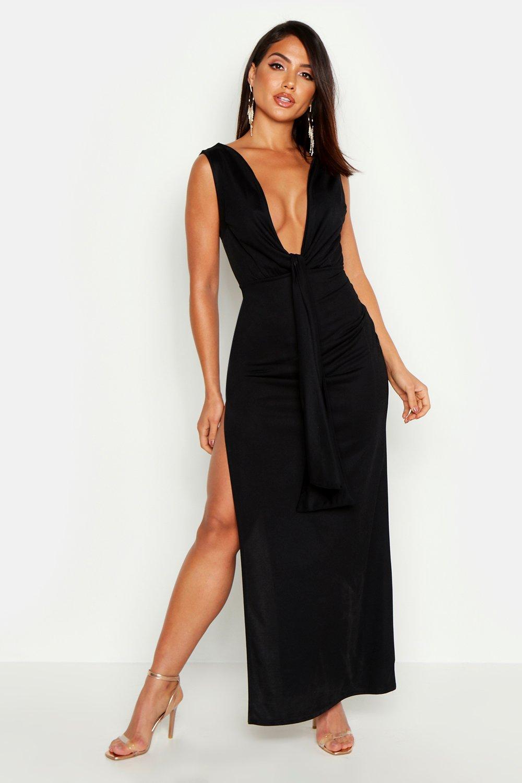 Boohoo | Платье макси с разрезом до бедра с завязками | Clouty