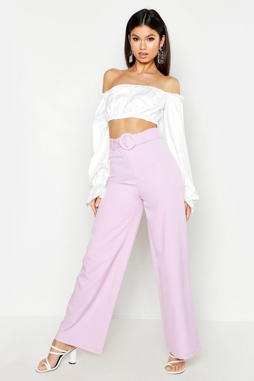 Boohoo | Приталенные широкие брюки с поясом | Clouty