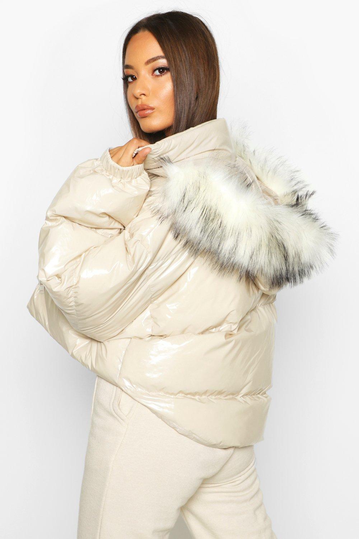 Boohoo   Crop Vinyl Faux Fur Trim Puffer Jacket   Clouty