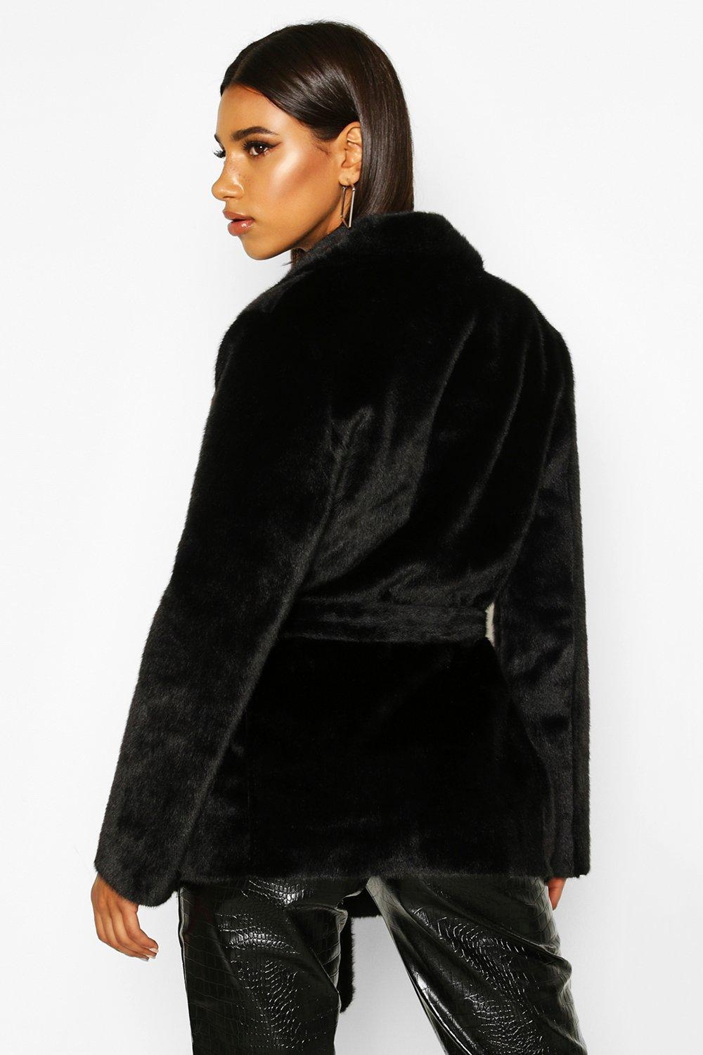 Boohoo | Faux Suede Lined Faux Fur Belted Wrap Coat | Clouty