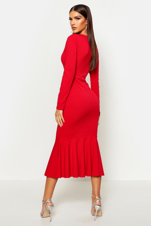 Boohoo | Платье с длинными рукавами и подолом «рыбий хвост» до середины голени | Clouty