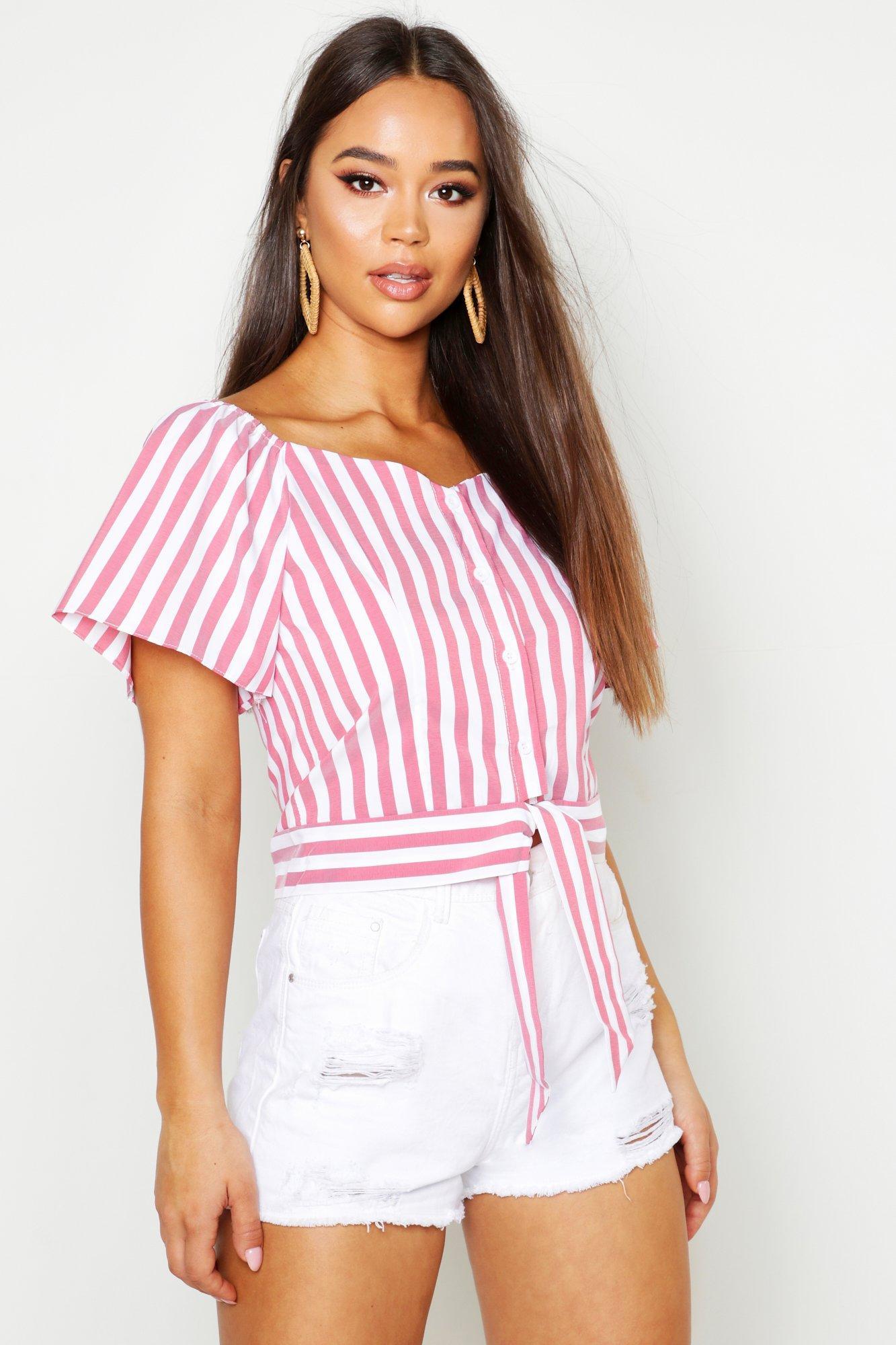 Boohoo | Тканевая блузка в фермерском стиле в полоску | Clouty