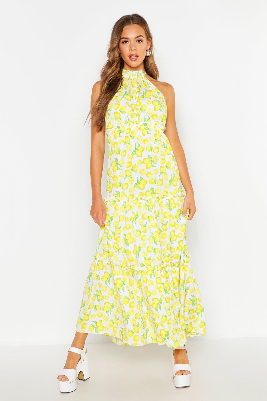Boohoo | Woven Lemon Ruffle Halter Neck Maxi Dress | Clouty