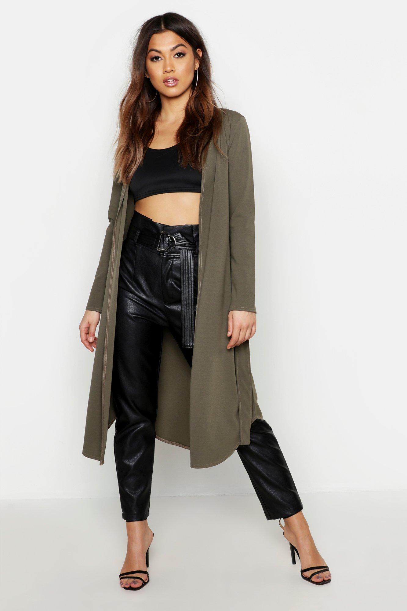 Boohoo | Куртка с поясом и контрастной отделкой | Clouty