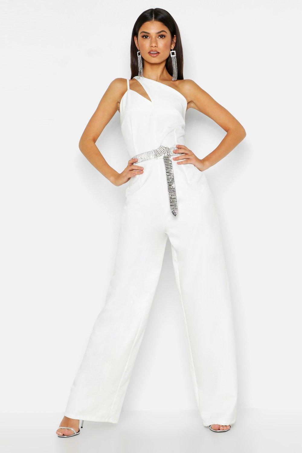 Boohoo | Woven One Shoulder Jumpsuit | Clouty
