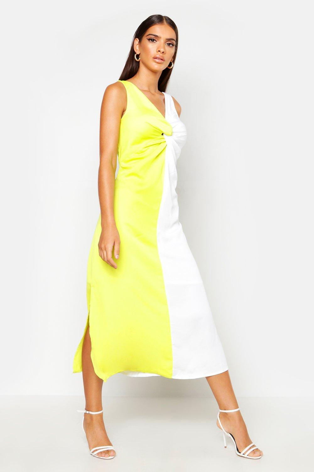 Boohoo | Satin Contrast Twist Front Dress | Clouty
