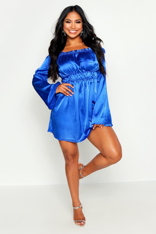 Boohoo | Платье-скейтер с оборками и открытыми плечами | Clouty