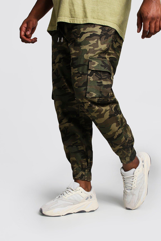 Boohoo | Большие размеры и ростовки — Скинни джоггеры в стиле карго с камуфляжным принтом | Clouty