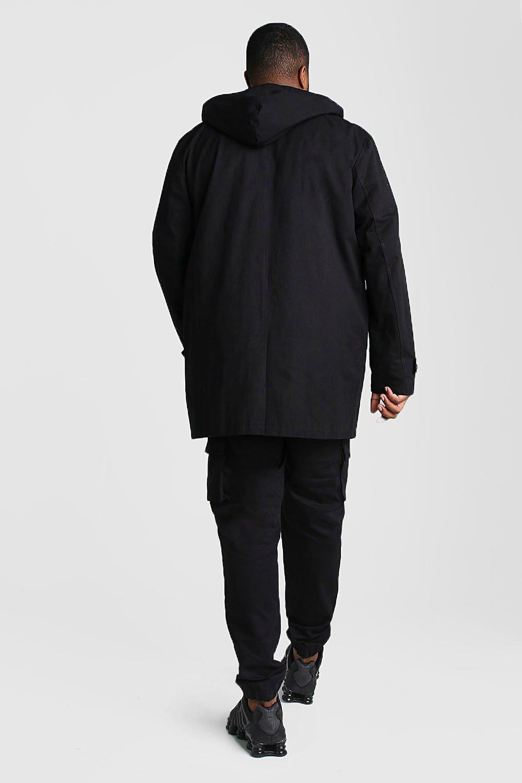 Boohoo | Из коллекции «Big And Tall»— Однобортный тренч с капюшоном | Clouty
