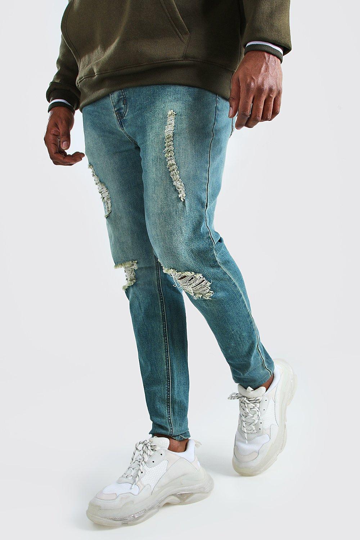 Boohoo | Big And Tall Ripped Knee Skinny Jean | Clouty