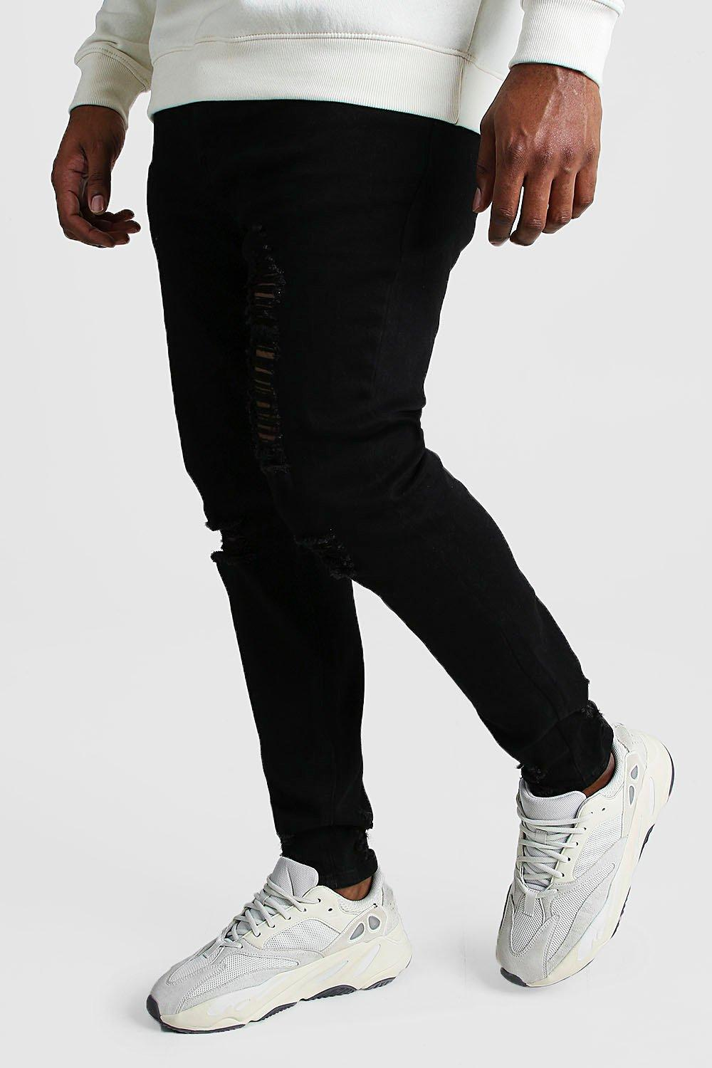 Boohoo | Big And Tall Skinny Jean With Heavy Distressing | Clouty