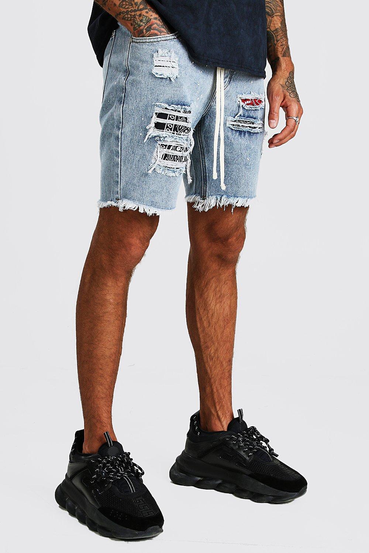 Boohoo   Приталенные шорты из денима с принтом в виде брызг краски и банданой   Clouty
