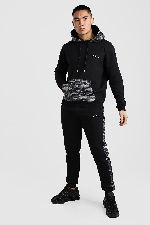 Boohoo | Нейлоновый камуфляжный спортивный костюм MAN с капюшоном и вставками | Clouty