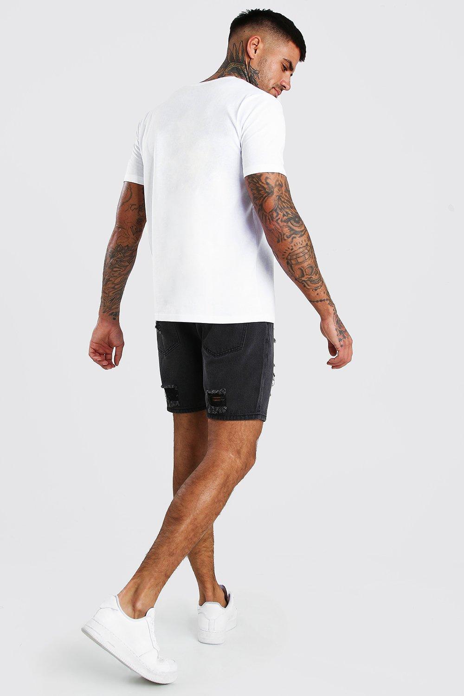 Boohoo | Приталенные шорты из денима с сильным эффектом поношенности | Clouty