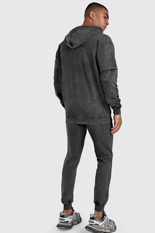 Boohoo | Свободное худи MAN с многослойными рукавами | Clouty