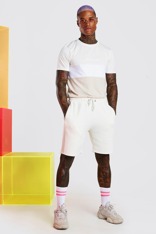 Boohoo   Официальный сет MAN в стиле колор-блок с шортами   Clouty