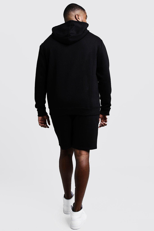 Boohoo | Большие размеры и ростовки — Спортивный костюм с шортами и вышивкой MAN | Clouty