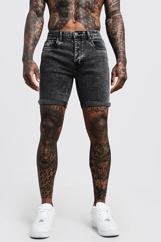 Boohoo | Stretch Skinny Fit Acid Wash Denim Shorts | Clouty