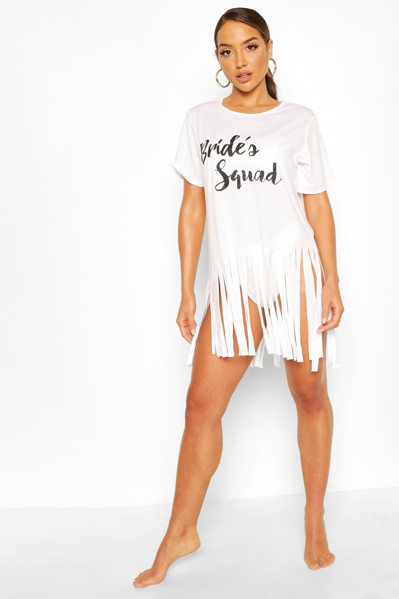 Boohoo | Пляжное платье с кисточками Bride's Tribe | Clouty