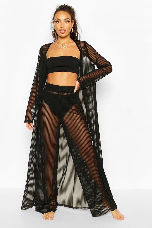 Boohoo | Пляжные широкие брюки в полоску из сетки | Clouty