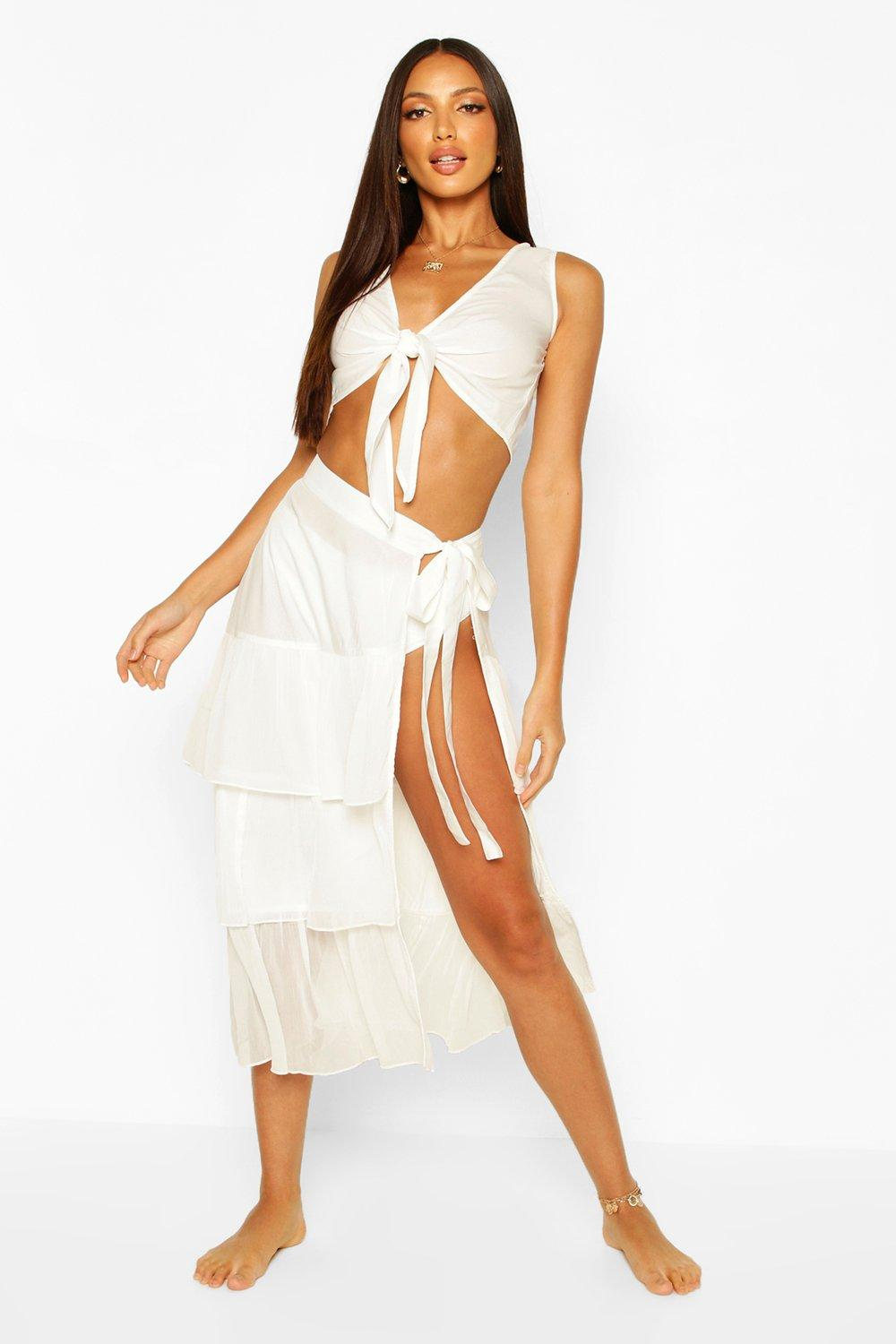 Boohoo | Tie Front Ruffle Co-Ord | Clouty
