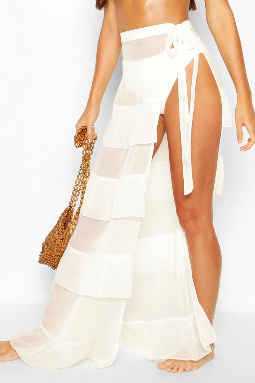 Boohoo | Ruffle Tie Maxi Beach Skirt | Clouty