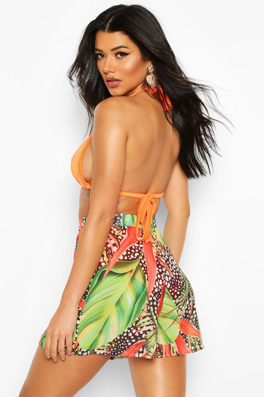 Boohoo | Пляжные шорты с тропическим леопардовым принтом | Clouty