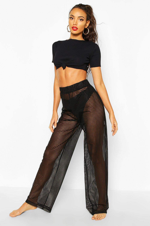 Boohoo | Сетчатые пляжные брюки в клетку | Clouty