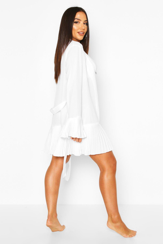 Boohoo | Пляжное кимоно с завязками и рукавами со складками | Clouty