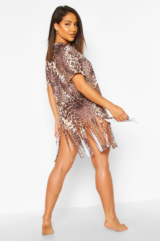 Boohoo   Пляжное платье с кисточками и с леопардовым принтом   Clouty