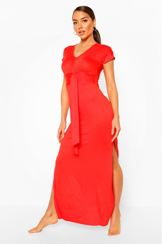 Boohoo | Пляжное платье макси из джерси с декоративным узлом | Clouty