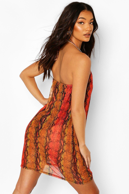 Boohoo   Пляжное платье мини с воротником-хомутом из сетки с принтом под змею   Clouty