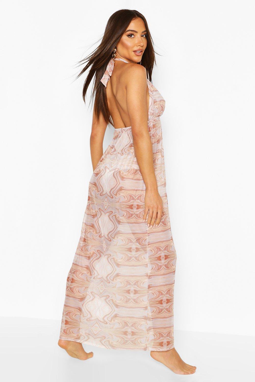 Boohoo | Мраморное пляжное макси-платье с воротником-хомутом и мраморным принтом | Clouty