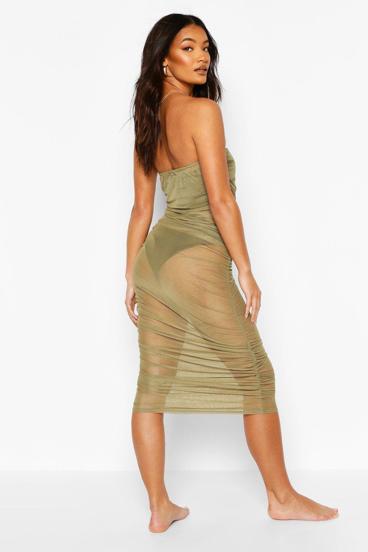 Boohoo | Пляжное платье макси в стиле бандо с оборками из сетки | Clouty