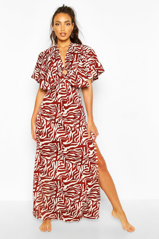 Boohoo | Пляжное платье макси в виде плаща с принтом под зебру | Clouty