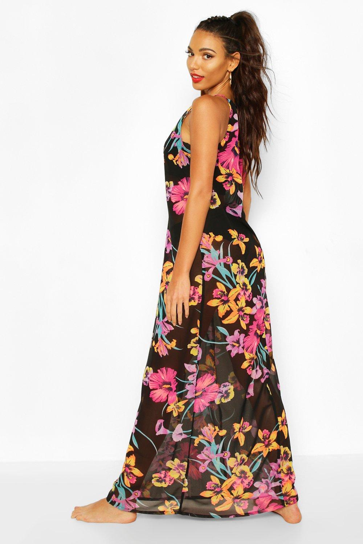 Boohoo   Шифоновое платье-трапеция макси с неоновым цветочным принтом   Clouty