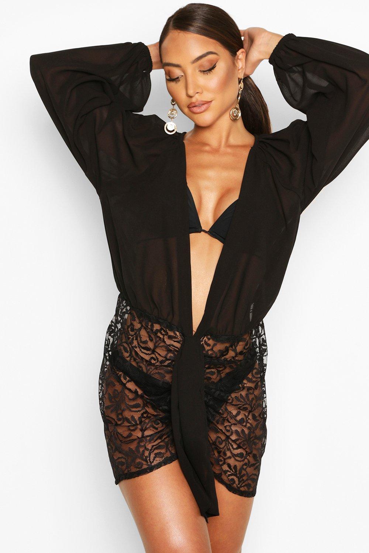 Boohoo | Пляжное платье с пышными рукавами, кружевными вставками и декольте | Clouty