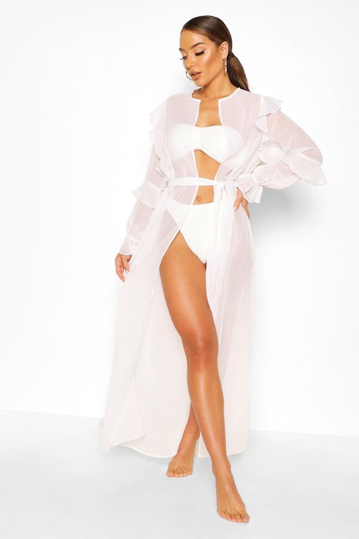 Boohoo | Пляжное кимоно макси с поясом и оборчатыми рукавами | Clouty