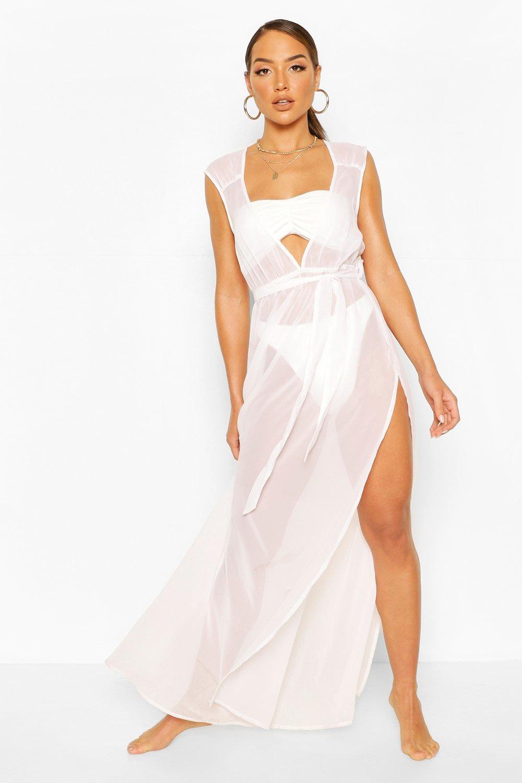 Boohoo | Пляжное платье макси с разрезами и декольте | Clouty