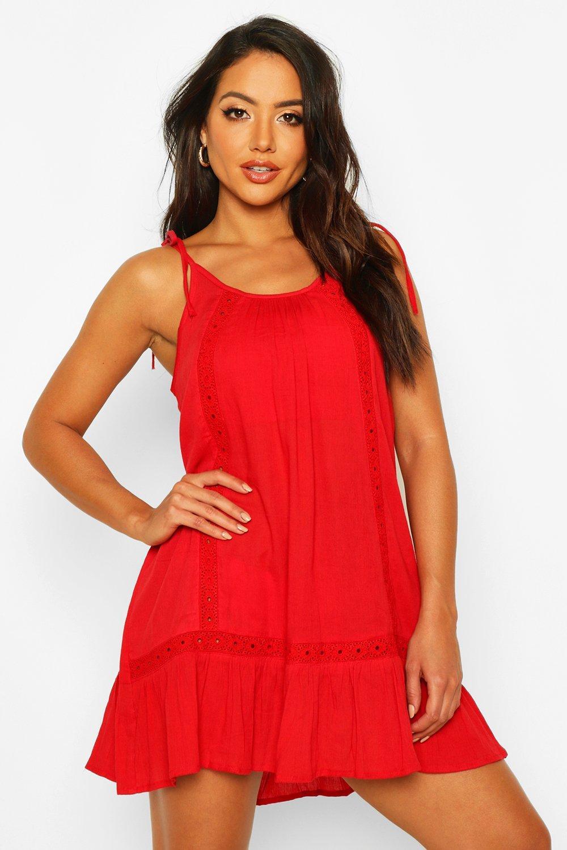 Boohoo   Пляжное платье из сетчатой рубашечной ткани с вышивкой   Clouty