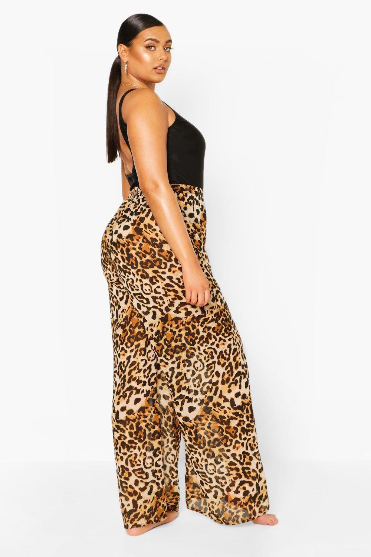 Boohoo   Из коллекции «Плюс сайз»— Пляжные брюки с леопардовым принтом   Clouty