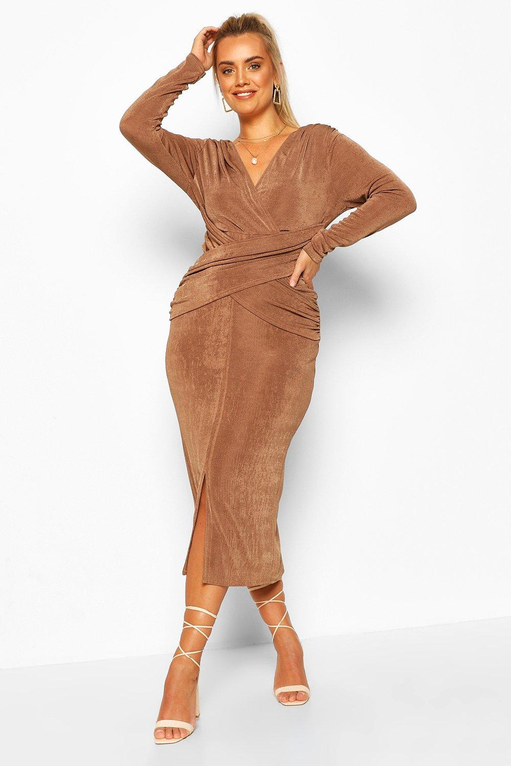Boohoo   Plus Textured Slinky Wrap Front Midaxi Dress   Clouty