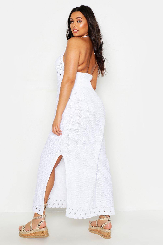 Boohoo   Плюс сайз — Ажурное макси-платье с завязками уздечкой   Clouty