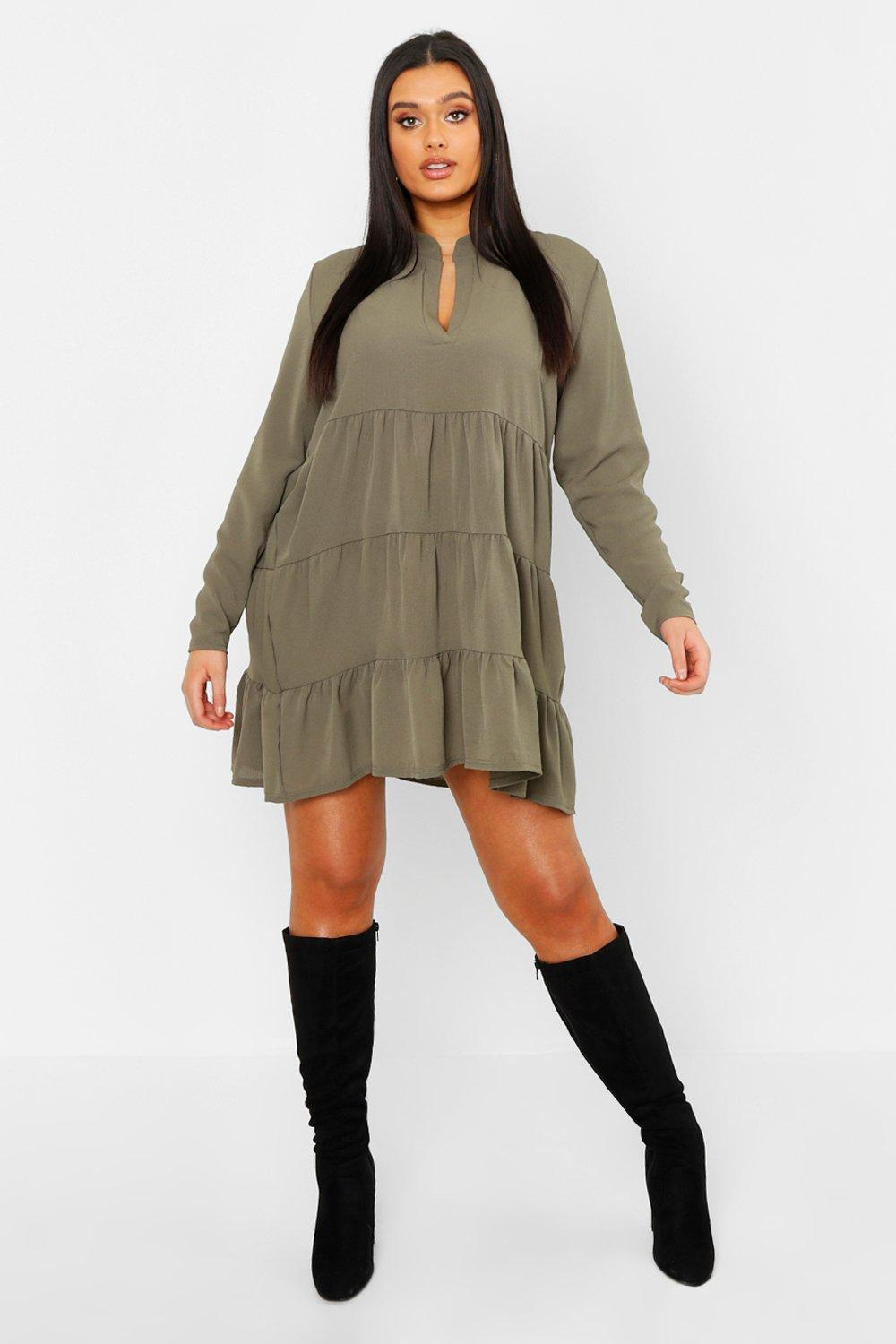 Boohoo | Plus Tiered Smock Dress | Clouty